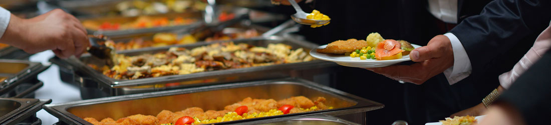 A list of hot fork buffet options and vegetarian dishes